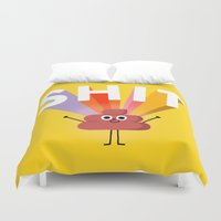 shit Duvet Covers featuring SHIT! by Mauro Gatti