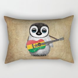 Baby Penguin Playing Ghana Flag Acoustic Guitar Rectangular Pillow