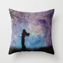 Night Magic Orignal Watercolor Painting Throw Pillow