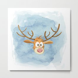 Reindeer Watercolor Christmas Metal Print