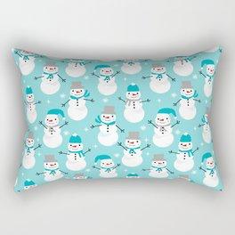 Snowman winter holiday pattern seasonal decor furnishing gifts for kids Rectangular Pillow