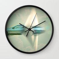 delorean Wall Clocks featuring Supersonic Delorean by Vin Zzep