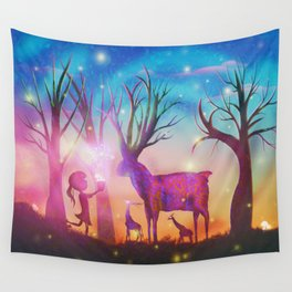 Girl meeting magical forest animals Wall Tapestry
