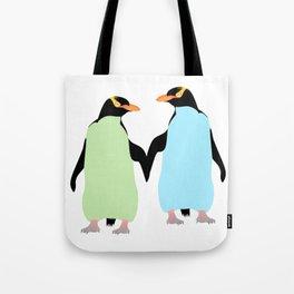 Gay Pride Penguins Holding Hands Tote Bag