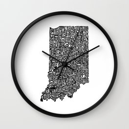 Typographic Indiana Wall Clock