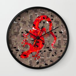 Red Lizard Collage Wall Clock