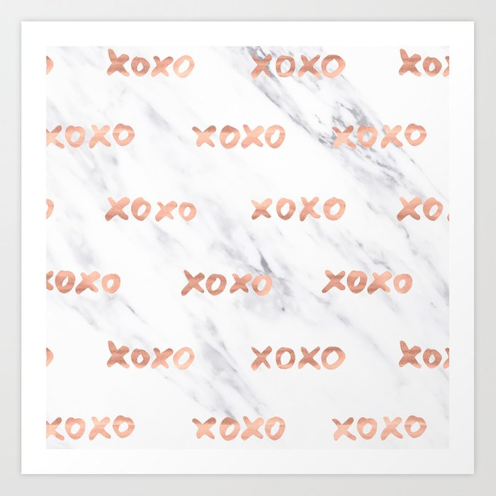 XOXO Text Rose Gold on Marble Art Print