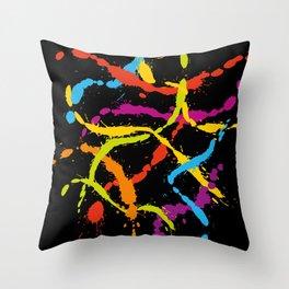 Splattered Rainbow [BLACK] Throw Pillow