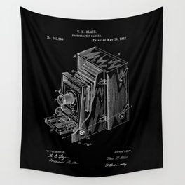 Vintage Camera Patent - White on Black Wall Tapestry