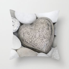 Stone Heart and pebble greige tones Throw Pillow