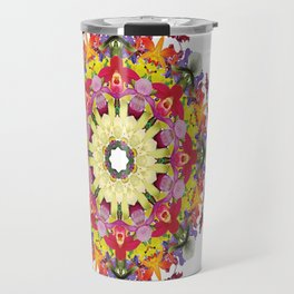 Abundantly colorful orchid mandala 1 Travel Mug