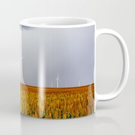 Maizy Day - Colorful Maize and Wind Turbines on Stormy Day in Kansas Coffee Mug