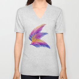 Neon Leaves Unisex V-Neck