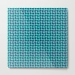 Blue Indigo Houndstooth Pattern Metal Print