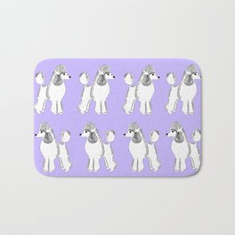 White Standard Poodles with Lavender Bath Mat
