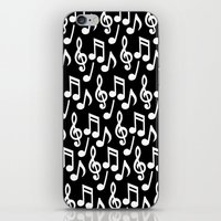 music notes iPhone & iPod Skins featuring Black & White Music Notes by Designs by Aryel