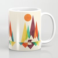 bear Mugs featuring Bear In Whimsical Wild by Picomodi
