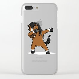 Funny Dabbing Horse Pet Dab Dance Clear iPhone Case