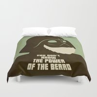 nfl Duvet Covers featuring Beard Vader by Beardy Graphics