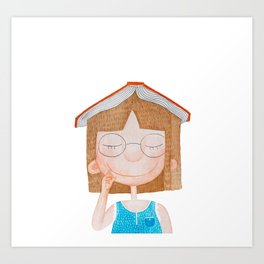 Smiling little cute girl with eyeglasses, and red book on her head. Watercolor illustration. Art Print