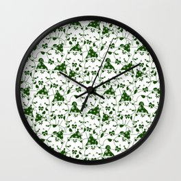 Winter Cats in Hats - Green Wall Clock