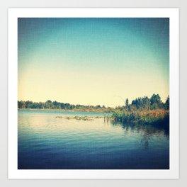 Fishing lake Art Print