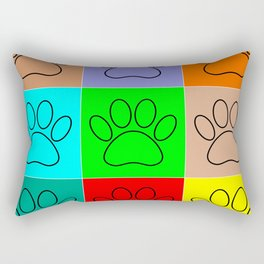 Puppy Paws In Squares Rectangular Pillow