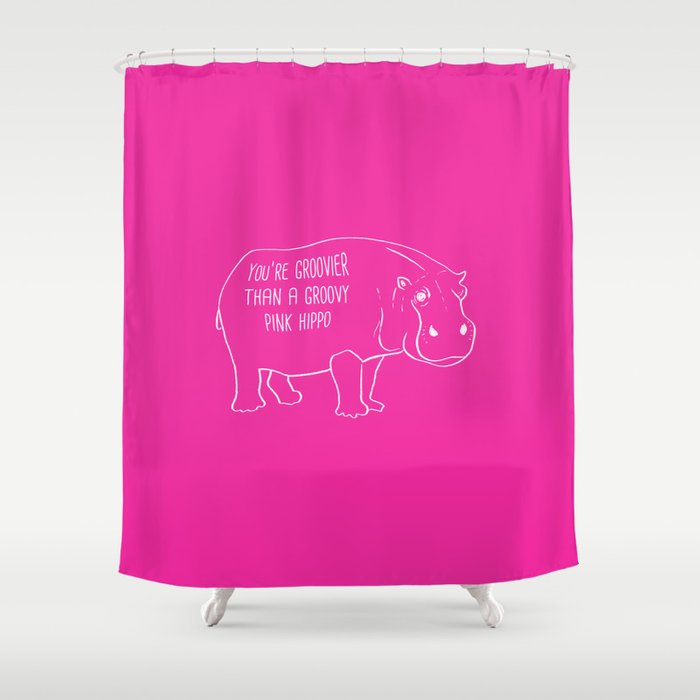 The Groovy Pink Hippo Shower Curtain By Goodputty
