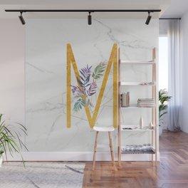 Modern glamorous personalized gold initial letter M, Custom initial name monogram gold alphabet prin Wall Mural