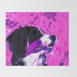 bernese mountain dog vector art purple pink Throw Blanket