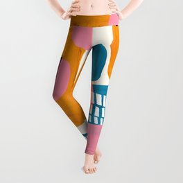 Mid Century Modern abstract Minimalist Fun Colorful Shapes Patterns Pink Teal Yellow Ochre Bubbles Leggings
