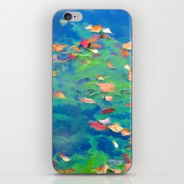 Autumn leaves on water 3 iPhone Skin