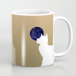 Moon and white cat Coffee Mug