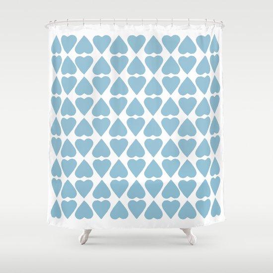 Diamond Hearts Repeat Blue Shower Curtain