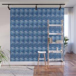 Jacobean Flower Damask, Cobalt and Light Blue Wall Mural