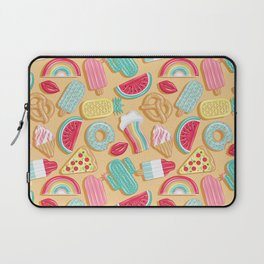 Epic pool floats top view // sand background Laptop Sleeve