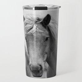 Horses - Black & White Travel Mug