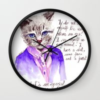 karl lagerfeld Wall Clocks featuring Fashion Mr. Cat Karl Lagerfeld and Chanel by Smog