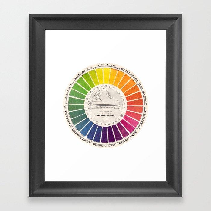 Vintage Color Wheel - Art Teaching Tool - Rainbow Mood Chart Pride Gerahmter Kunstdruck