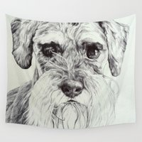 schnauzer Wall Tapestries featuring harvey by Gray