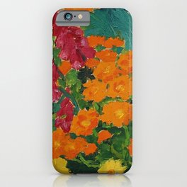Floral Garden - Summer Marigolds & Bellflowers Still Life Painting by Emil Nolde iPhone Case