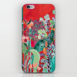 Red floral Jungle Garden Botanical featuring Proteas, Reeds, Eucalyptus, Ferns and Birds of Paradise iPhone Skin