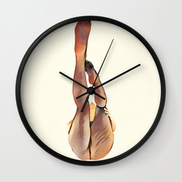 8283s-SLG Legs Up Woman in Mesh Stockings Watercolor Render Wall Clock