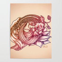 Koi Fish and Lotus Flower Poster