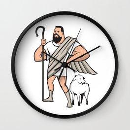 Superhero Shepherd Sheep Standing Cartoon Wall Clock