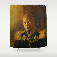 replaceface Shower Curtains featuring Samuel L. Jackson - replaceface by replaceface