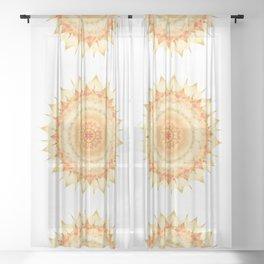 Delicate Mandala orange on white Sheer Curtain