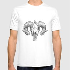 Skull Sketch Mens Fitted Tee White LARGE