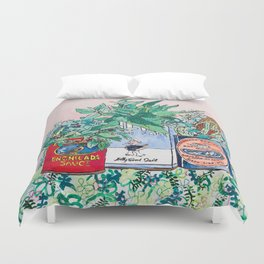 Jungle Botanical in Colorful Cans on Pink - Still Life Duvet Cover