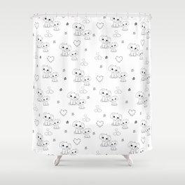 Cute Doodle Elephant Ink Art Shower Curtain